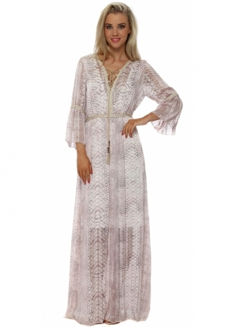 My Story Pink Snake Print Maxi Kaftan Dress