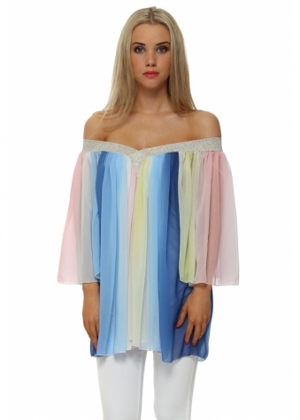 J&L Paris Rainbow Chiffon Glitter Top