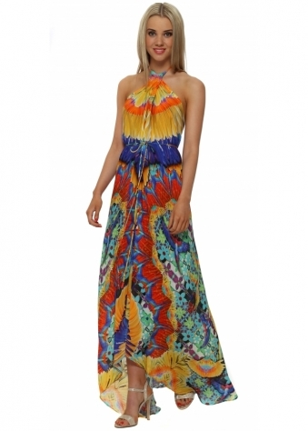 Shahida Parides Papaya Blue & Orange Maxi Dress