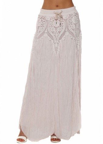 Made In Italy Blush Pink Lace Overlay Crinkled Maxi Skirt