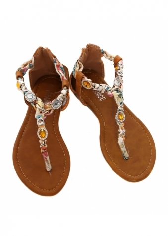 French Boutique Camel Jewelled Satin Toe Post Sandals