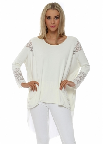 A Postcard From Brighton Tammy Foam Mesh & Lace Dip Hem Top