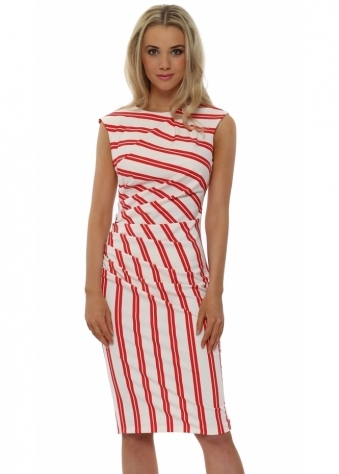 Rinascimento Red Multi Stripe Pencil Dress