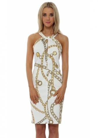 Rinascimento White Gold Chain Print Halterneck Dress