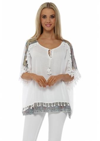 Pinka White Slub Linen Sequinned Tassel Top