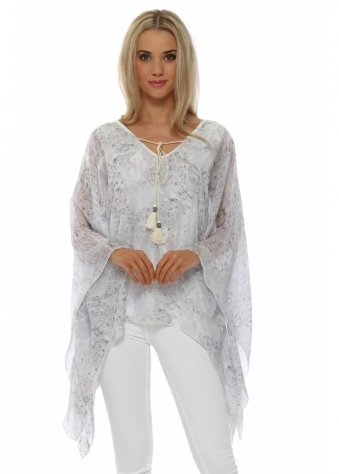 Made In Italy Grey Paisley Print Silk Kaftan Top