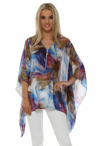 French Boutique Blue Abstract Print Zip Tunic Top