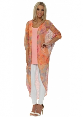 A Postcard From Brighton Baylee Coral Boho Tie Dye Mesh Maxi Cardigan