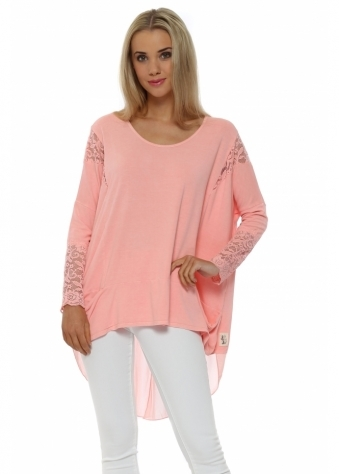 A Postcard From Brighton Tammy Coral Mesh & Lace Dip Hem Top