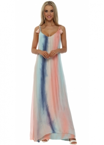 J&L Paris Candy Ombre Rainbow Silk Maxi Dress