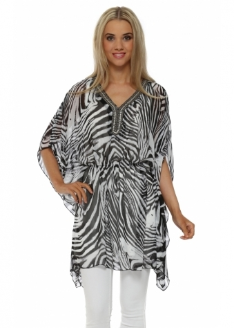 French Boutique Zebra Chiffon Jewlled Kaftan Top