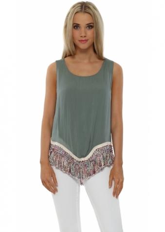 J&L Paris Khaki Silk Rainbow Tassel Hem Vest