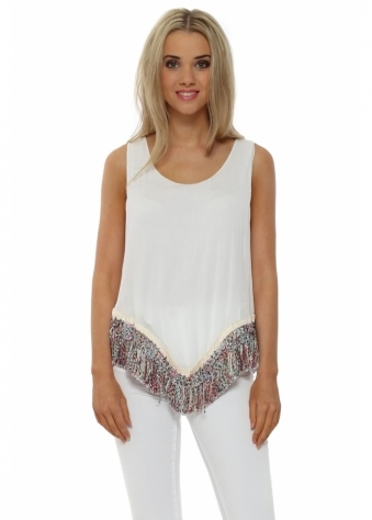 White Silk Rainbow Tassel Hem Vest