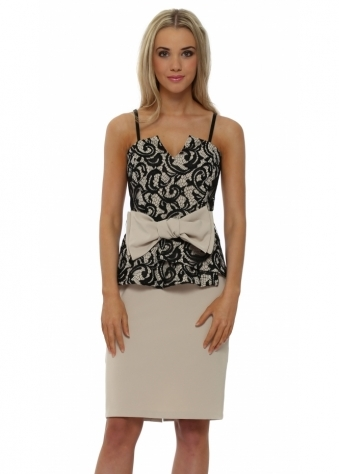 Black Lace Bustier Peplum Bow Dress