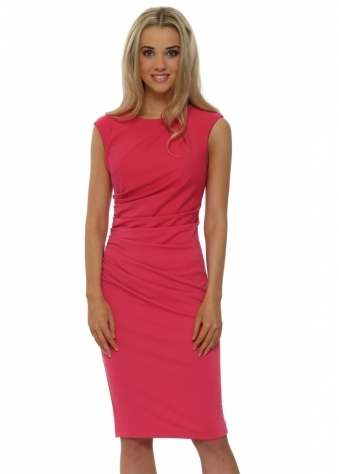 Rinascimento Fucshia Pink Ruched Sleevless Pencil Dress
