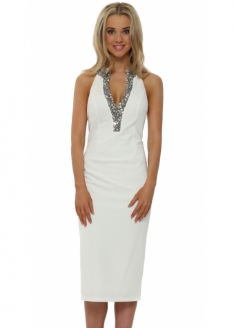 Pia Michi White Crystal Beaded Neckline Cocktail Dress