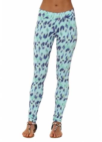 A Postcard From Brighton Molly Marbs Leopard Print Aqua Leggings