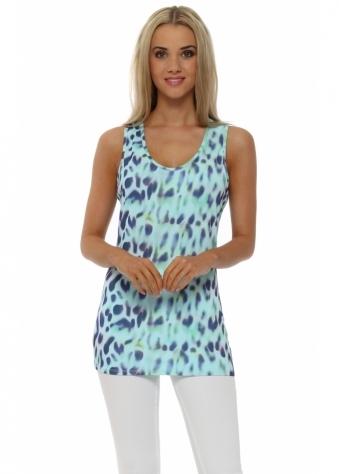 A Postcard From Brighton Aqua Melissa Marbs Leopard Print Vest