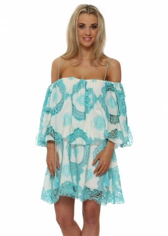 Legende By Angel Turquoise Crochet Lace Off The Shoulder Dress