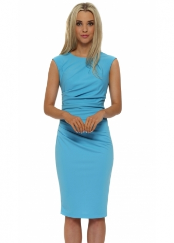 Rinascimento Turquoise Ruched Sleevless Pencil Dress
