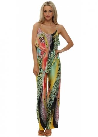 Just M Paris Aqua & Pink Leopard Print Jumpsuit