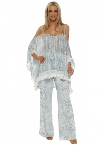 Blue Snake Print Palazzo Trousers & Top