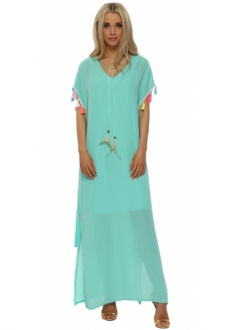 Turquoise Tassle Maxi Kaftan Dress