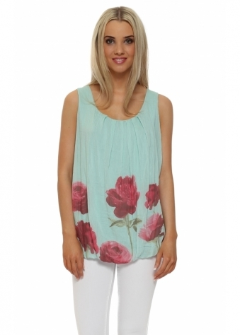 Pinka Mint Green Poppy Print Silk Vest Top