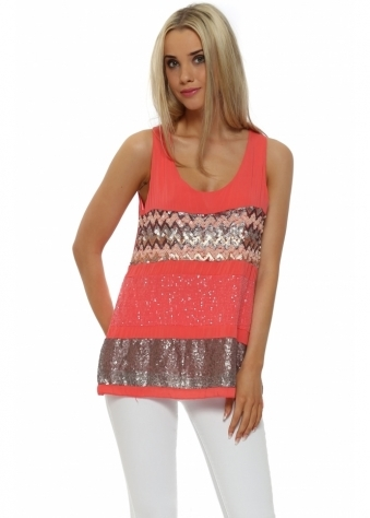 French Boutique Coral Sequinned Silk Vest Top