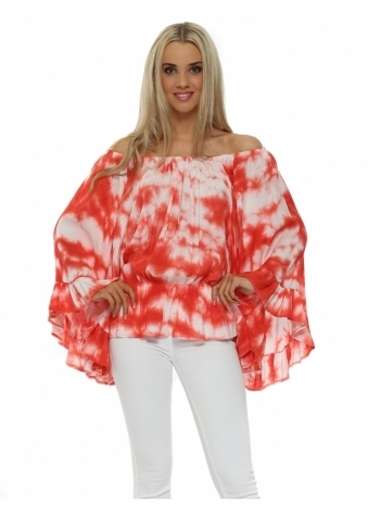 Just M Paris Coral Tie Dye Off The Shoulder Batwing Top