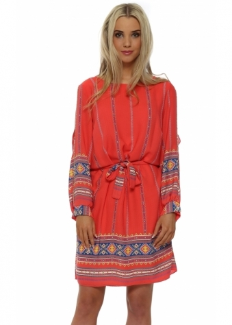 Dis Moi Coral Diamonte Boho Slit Sleeve Mini Shift Dress