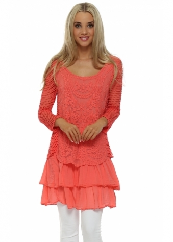 French Boutique Coral Crochet Long Sleeve Layered Top