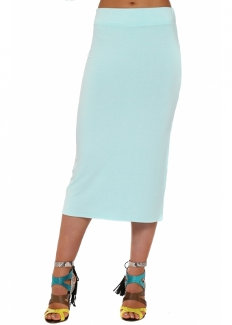 A Postcard From Brighton Mindy Aqua Midi Skirt