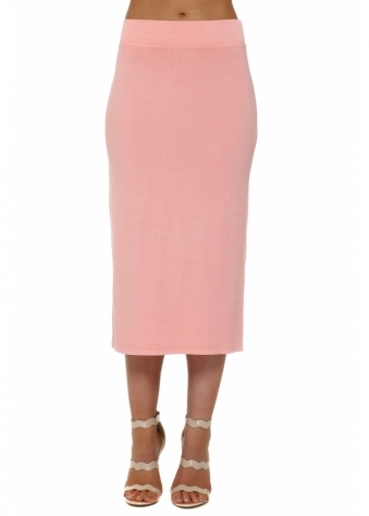A Postcard From Brighton Mindy Coral Jersey Midi Skirt