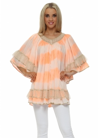 Laurie & Joe Orange Boho Tie Dye Pearl Tunic Top