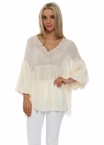 French Boutique Cream Pleated Puffball Tunic Top