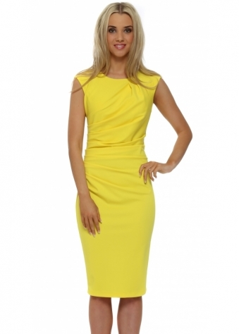 Rinascimento Yellow Ruched Sleevless Pencil Dress