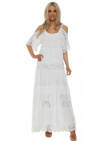 Pinka White Tiered Lace Cold Shoulder Maxi Dress
