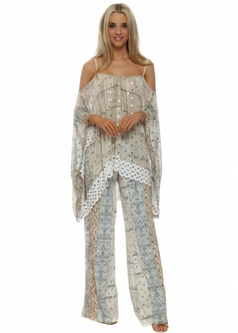 My Story Gold Foil Snake Print Palazzo Trousers & Top