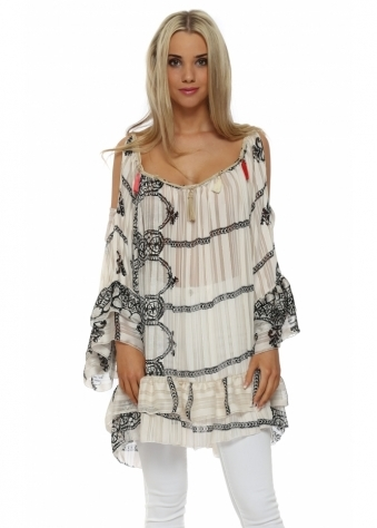 My Story Cream Abstract Cold Shoulder Tunic Top
