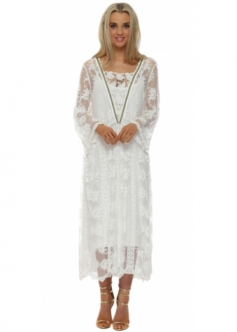 French Boutique White Lace Long Sleeve Ankle Grazer Maxi Dress