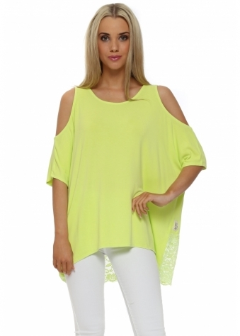 A Postcard From Brighton Twin Peaks Citrus Cold Shoulder Lace Top