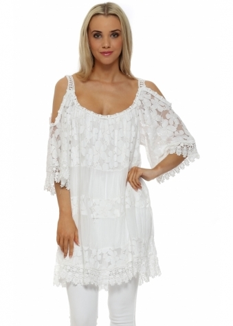 Made In Italy White Tiered Lace Cold Shoulder Tunic Top