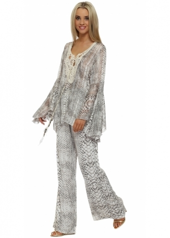 My Story Grey Snake Print Palazzo Trousers & Top