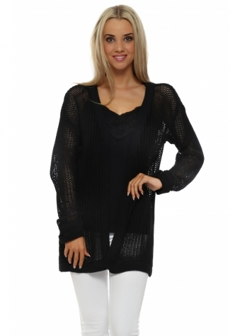 Poppet Black Chunky Knit Cardigan
