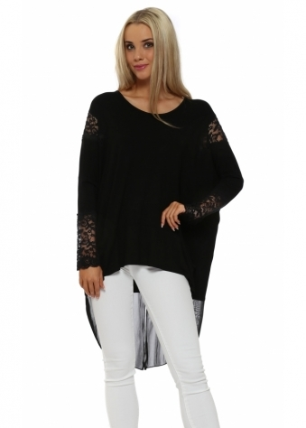 A Postcard From Brighton Tammy Black Mesh & Lace Dip Hem Top