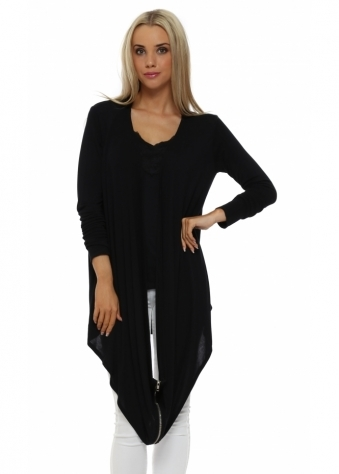 A Postcard From Brighton Faith Multi Way Black Zip Cardigan