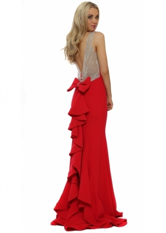 Pia Michi Red Crystal Ruffle Back Evening Dress