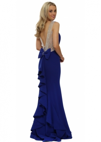 Pia Michi Blue Crystal Ruffle Back Evening Dress
