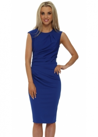 Rinascimento Royal Blue Ruched Sleevless Pencil Dress